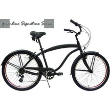 "26"" Men Seven Speed Aluminum Beach Cruiser - Flat Black with Red Wheels"