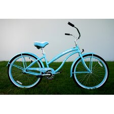 "Ladies 26"" Single Speed Aluminum Beach Cruiser in Baby Blue"