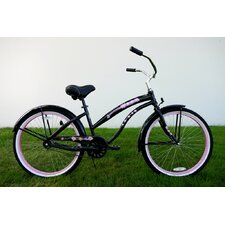 "Ladies 26"" Single Speed Aluminum Beach Cruiser in Black with Pink Wheels"