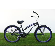 "Ladies 26"" Single Speed Aluminum Beach Cruiser in Flat Black"