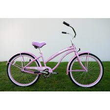 "Ladies 26"" Single Speed Aluminum Beach Cruiser in Pink"