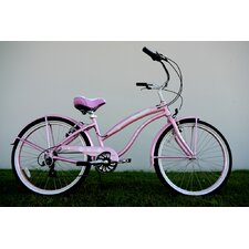 "Ladies 26"" Seven Speed Aluminum Beach Cruiser in Pink"