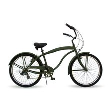 "26"" Men Seven Speed Beach Cruiser - Flat Army Green with Black Wheels"