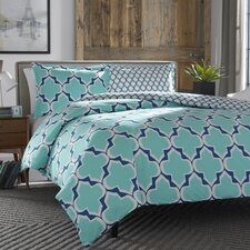 Rhea Teal Reversible Duvet Cover Set