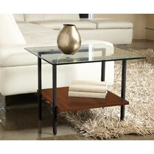 Modern Glass End Table with Shelf