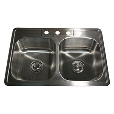 """33"""" x 22"""" 50/50 Double Bowl Stainless Steel Kitchen Sink"""