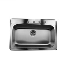 "33"" x 22"" Single Bowl Stainless Steel Kitchen Sink"