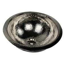 Brightwork Home Hand Hammered Brass Round Undermount Bathroom Sink with Overflow