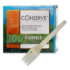 Corn Starch Cutlery, Fork, White, 100/Box