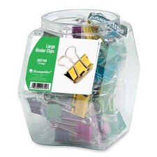 """Binder Clips, Large, 1-1/4"""", Contemporary Metallic, 12 per Set, Assorted"""
