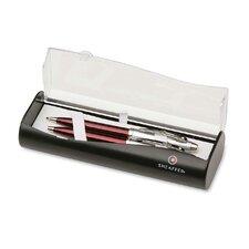 Ballpoint Pen/Pencil, Twist Mechanism, 0.7mm Lead, Red Barrel (Set of 2)