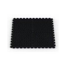 Vented (Drain) Pattern Modular Garage PVC Floor Tile in Black (Pack of 6)