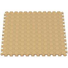 Raised Coin Multi-Purpose PVC Floor Tile in Beige (Pack of 6)
