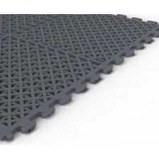Vented (Drain) Pattern Modular Garage PVC Floor Tile in Dove Gray (Pack of 6)