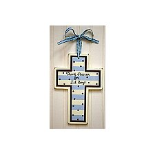 Wooden Cross in Blue and Brown