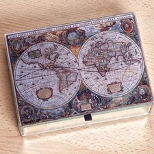 Atlas Mirrored Glass Antique Map Box