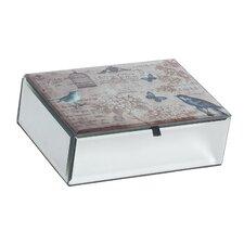 Cecily Mirrored Glass Box with Bird Design