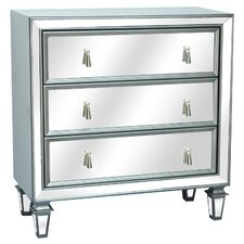 Hollywood 3 Drawer Gunmetal and Mirrored Chest