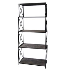 """Cumberland Metal and Smoked Wood 69.75"""" Standard Bookcase"""