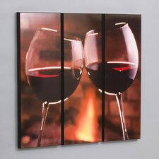 Red Wine Cheers 3 Piece Framed Photographic Print Set