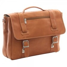 Leather Flap Over Soft Sided Briefcase