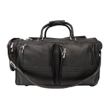 "Traveler 20"" Leather Travel Duffel with Pockets on Wheels"
