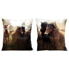 Mustangs Western Running in the Wild Microsuede Throw Pillow