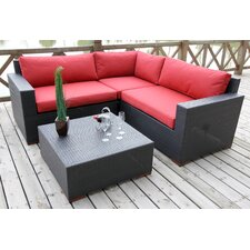Pasadina Conversation Sectional 4 Piece Deep Seating Group with Cushions