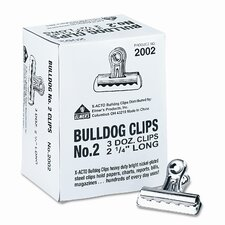 "Bulldog Clips, Steel, 1/2"" Capacity, 2-1/4""w, Nickel-Plated, 36/box"