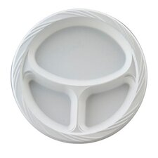 """10.25"""" Round Plastic Plates with 3 Compartments in White"""