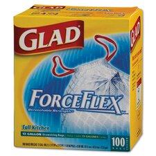 Drawstring force flex Tall Kitchen Bag in White