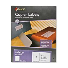 Copier Labels, 100 Sheets Per Box, White