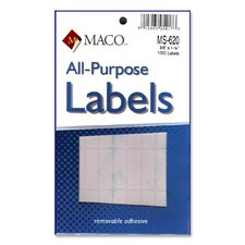 "Multipurpose Labels, Removable, 3/8""x1-1/4"", 1000 per Pack, White (Set of 3)"
