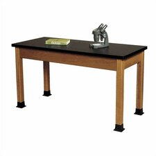 Wood Science Table with Black HPL Top and Optional Rubber Boots