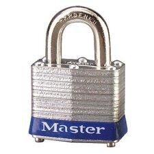 Four-Pin Tumbler Lock Laminated Steel Body Two Keys in Silver / Blue