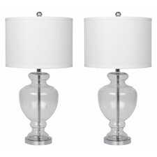 "Crystal 28"" H Table Lamp with Drum Shade (Set of 2)"