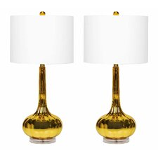 """Selia Antiqued 28"""" H Table Lamp with Drum Shade (Set of 4)"""