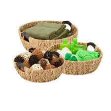 3 Piece Round Natural Basket Set