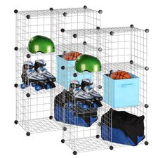 Modular Mesh Storage Cube Shelving Unit (Set of 12)