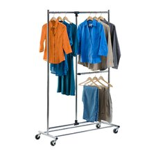 Dual Bar Adjustable Garment Rack in Chrome