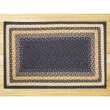 Light Blue/Dark Blue/Mustard Braided Area Rug