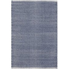 Herringbone Indigo Blue Geometric Area Rug