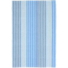 Ticking Woven Cotton Sky Blue Area Rug