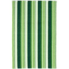 Ticking Woven Cotton Evergreen Area Rug