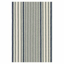Woven Mattress Ticking Blue/Ivory Area Rug