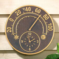 "Solstice 14"" Thermometer Clock"