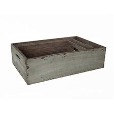 3 Piece Wooden Crate Set with Side Handles