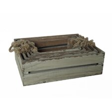 5 Piece Wooden Slatted Crate Set with Rope Handles