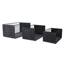 3 Piece Mesh Wire Metal Rectangle Storage Box Set
