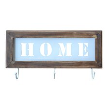 """Home"" Wooden Framed Wall Décor with 3 Hooks"